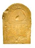 Leraminnestavla med forntida egyptiska hieroglyf som innehåller människa f Arkivfoto
