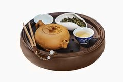 Leratea-saker och grön tea Arkivbilder
