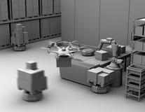 Leratolkning av det moderna lagret som utrustas med robotic arm-, surr- och robotbärare vektor illustrationer