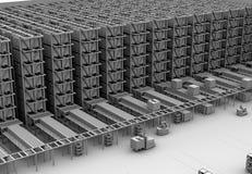 Leratolkningen av den moderna automatiserade logistiken centrerar inre för ` s vektor illustrationer
