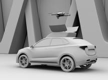 Leratolkningen av elektriska SUV släppte surret för fritidunderhållning royaltyfri illustrationer