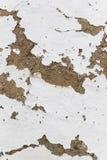 Leravägg som kalkas med limefrukt och skalning, bakgrund av det gamla lantliga huset, bakgrund Arkivbilder