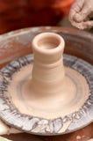 Leravas på ett hjul för keramiker` s Arkivbild