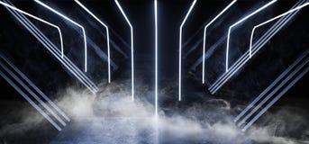 Lerciume concreto di porpora del fumo di Violet Glowing Triangle Sci Fi dell'astronave dell'estratto del metallo lucido virtuale  illustrazione vettoriale