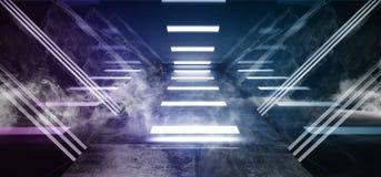 Lerciume concreto di porpora del fumo di Violet Glowing Triangle Sci Fi dell'astronave dell'estratto del metallo lucido virtuale  royalty illustrazione gratis