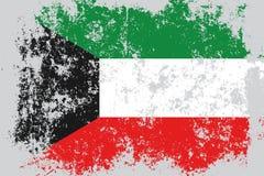Lerciume del Kuwait, vecchia, bandiera graffiata di stile illustrazione di stock