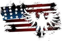 Lerciume dell'aquila e della bandiera americana Fotografia Stock