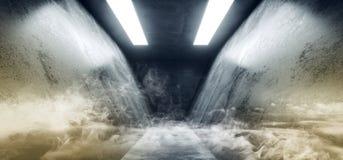 Lerciume a forma di Sci concreto Fi grande Hall Scene Alien Ship riflettente scuro vuoto elegante bianco blu al neon futuristico  illustrazione di stock