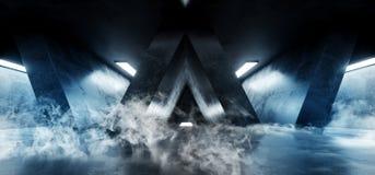 Lerciume a forma di Sci concreto Fi grande Hall Scene Alien Ship riflettente scuro vuoto elegante bianco blu al neon futuristico  royalty illustrazione gratis