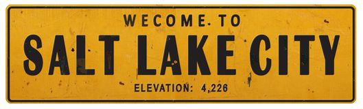 Lerciume Rerto d'annata rustico del segnale stradale di Salt Lake City Utah illustrazione vettoriale