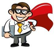 Lerdo do escritório do super-herói dos desenhos animados Imagens de Stock
