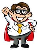 Lerdo do escritório do super-herói dos desenhos animados Imagem de Stock Royalty Free