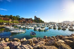 Lerici, harbor and village. Cinque terre, Ligury Italy Royalty Free Stock Image