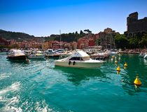 Lerici, Italy - August 7, 2015. Sunset view of port and old town of Lerici, Italy. Lerici is located in La Spezia, Liguria, and is famous for his bay, harbour Stock Image