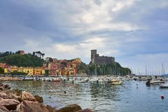 Lerici /Liguria - Italy / May 2018 : Beautiful view of town Lerici on Ligurian coast of Italy in prov royalty free stock image