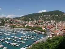 Lerici - Poets Bay. Panorama from the Castle of Lerici. Lerici is the main village in Poets Bay, La Spezia, on the Tyrrhenian sea in Liguria, Italy Stock Photography