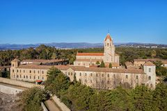 Lerins Abbey on the island of Saint-Honorat, France. Lerins Abbey is a Cistercian monastery on the island of Saint-Honorat, one of the Lerins Islands, on the Stock Photo