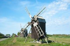 lerkaka nära trägammala windmills Royaltyfri Fotografi