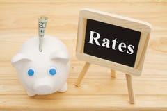 Lernen über Zinssätze mit Sparschwein lizenzfreies stockbild