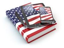 Lernen amerikanischen Englisch Tragbare Geräte, Smartphone, Tabletten-PC stock abbildung