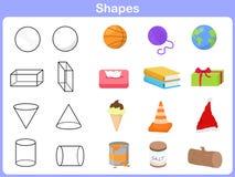 Lernen der Formen mit Gegenstand für Kinder Stockfoto