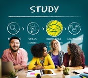 Lernen des Studien-Bildungs-Wissens-Einblick-Klugheits-Konzeptes stockbild