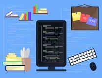 Lernen die Programmierung und die Kodierung des Konzeptes, Websiteentwicklung, Webdesign Flache Illustration Lizenzfreies Stockfoto