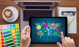 Lernen global, edu Abstand der Kommunikations-globalen Kommunikation stockbild