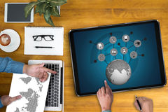 Lernen global, edu Abstand der Kommunikations-globalen Kommunikation stockfoto