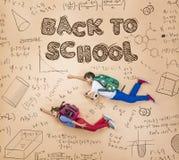 Lernen mit zwei Schulkindern Stockfoto