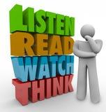 Lernen Sie, dass gelesene Uhr Lernprozess-System der Wort-3d denken Lizenzfreies Stockbild