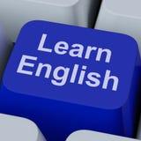 Lernen Sie die englischen Schlüsselshows, die online Sprache studieren stockfotos