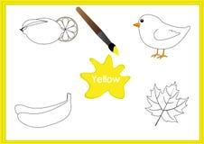 Lernen Sie die Farben, Kinder lernen die Farben, Arbeitsblatt Lizenzfreie Stockfotografie