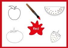 Lernen Sie die Farben, Kinder lernen die Farben, Arbeitsblatt Lizenzfreie Stockfotos