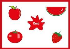 Lernen Sie die Farben, Kinder lernen die Farben, Spaßarbeitsblatt Stockfotos