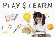 Lernen Sie die Spiel-Bildung, die Ikonen-Konzept lernt Lizenzfreie Stockfotografie