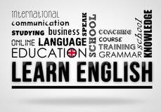 Lernen Sie Englisch - Collagenkonzept lizenzfreie abbildung