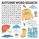 Lernen Sie Englisch mit einem Herbstwort-Suchspiel für Kinder Vektor I lizenzfreie abbildung