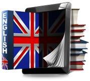 Lernen Sie Englisch - Tablet-Computer und Bücher stock abbildung