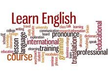 Lernen Sie Englisch, Wortwolkenkonzept 3 lizenzfreie abbildung