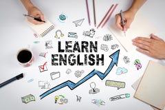 Lernen Sie englisches Konzept Bildungs- und Karrieregelegenheiten lizenzfreies stockfoto