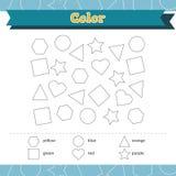 Lernen Sie Formen und geometrische Zahlen Farbvorschule oder Kindergartenarbeitsblatt Auch im corel abgehobenen Betrag stockbild