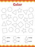 Lernen Sie Formen und geometrische Zahlen Farbvorschule oder Kindergartenarbeitsblatt Auch im corel abgehobenen Betrag stockfotografie