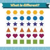 Lernen Sie Formen und geometrische Zahlen Welches unterschiedliche Vorschule oder Kindergartenarbeitsblatt ist Auch im corel abge stockfotos