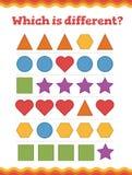 Lernen Sie Formen und geometrische Zahlen Welches unterschiedliche Vorschule oder Kindergartenarbeitsblatt ist Auch im corel abge lizenzfreies stockbild
