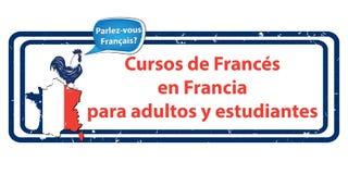 Lernen Sie französisch in Frankreich - spanische bedruckbare Sprachschulwerbung stock abbildung