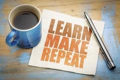 Lernen Sie, machen Sie Wiederholung Motivkonzept lizenzfreie stockbilder