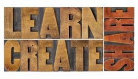Lernen Sie, schaffen Sie und teilen Sie Wortzusammenfassung Lizenzfreie Stockbilder