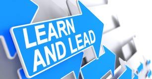 Lernen Sie und führen Sie - Text auf blauem Pfeil 3d Lizenzfreie Stockfotos