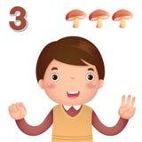 Lernen Sie Zahl und die Zählung mit kid's Hand, welche die Zahl t zeigt Lizenzfreies Stockfoto